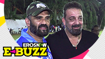 Suniel Shetty and Sanjay Dutt at a celebrity cricket match